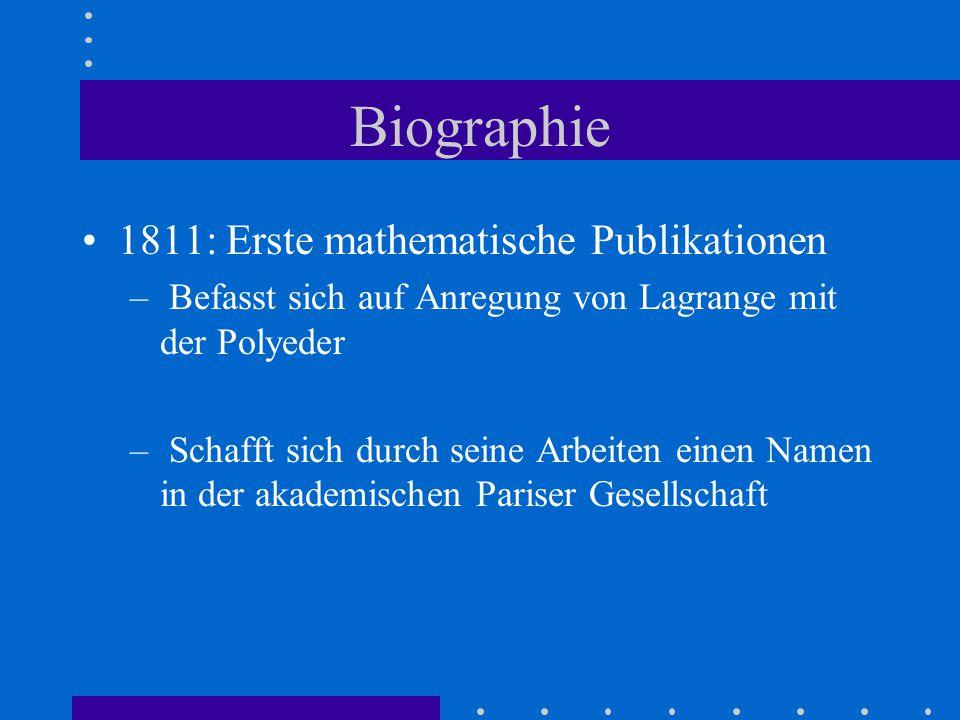 Biographie 1813: Rückkehr nach Paris 1813/ 1814: Strebt nach einer offiziellen wissenschaftlichen Funktion entweder an der Akademie oder an einer Hochschule - Bestrebungen zunächst erfolglos