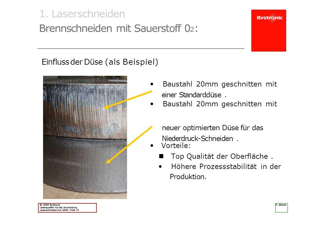 © 2009 Bystronic Laserquellen für die Anwendung LaserschneidenJuli 2009, Folie /9 R. Stöckli © 2009 Bystronic Laserquellen für die Anwendung Laserschn