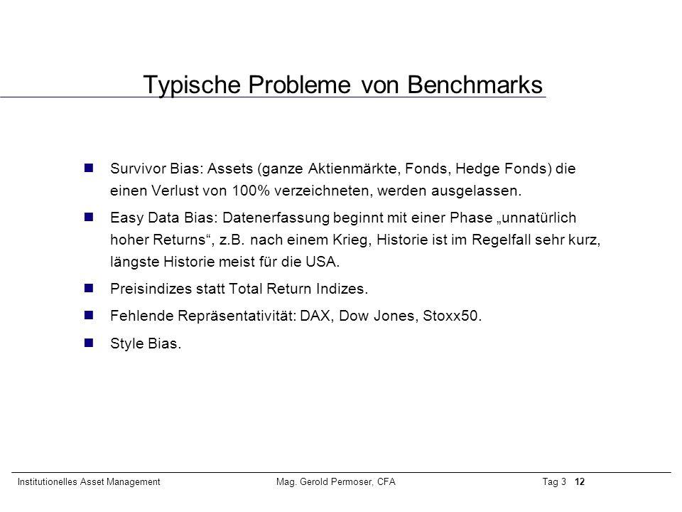 Tag 3 12Institutionelles Asset ManagementMag. Gerold Permoser, CFA Typische Probleme von Benchmarks Survivor Bias: Assets (ganze Aktienmärkte, Fonds,