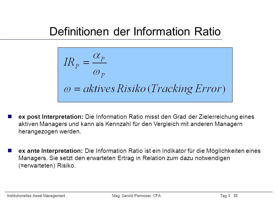 Tag 3 33Institutionelles Asset ManagementMag. Gerold Permoser, CFA Definitionen der Information Ratio nex post Interpretation: Die Information Ratio m