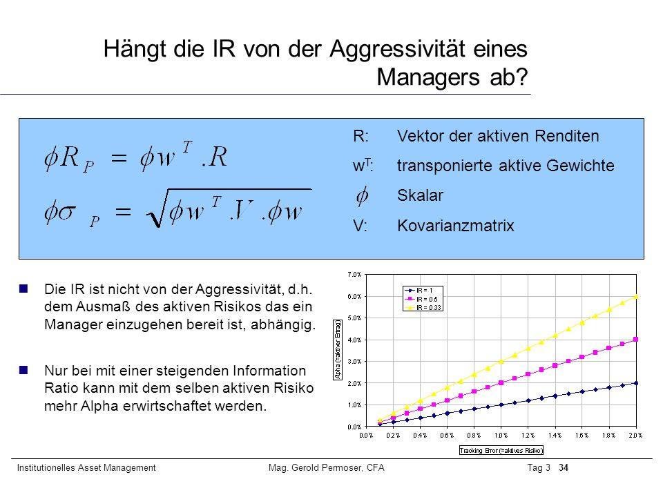 Tag 3 34Institutionelles Asset ManagementMag. Gerold Permoser, CFA Hängt die IR von der Aggressivität eines Managers ab? R: Vektor der aktiven Rendite