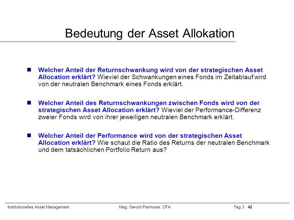 Tag 3 42Institutionelles Asset ManagementMag. Gerold Permoser, CFA Bedeutung der Asset Allokation nWelcher Anteil der Returnschwankung wird von der st