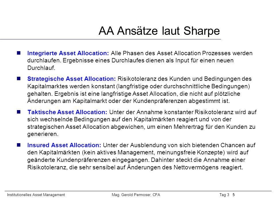 Tag 3 5Institutionelles Asset ManagementMag. Gerold Permoser, CFA AA Ansätze laut Sharpe Integrierte Asset Allocation: Alle Phasen des Asset Allocatio