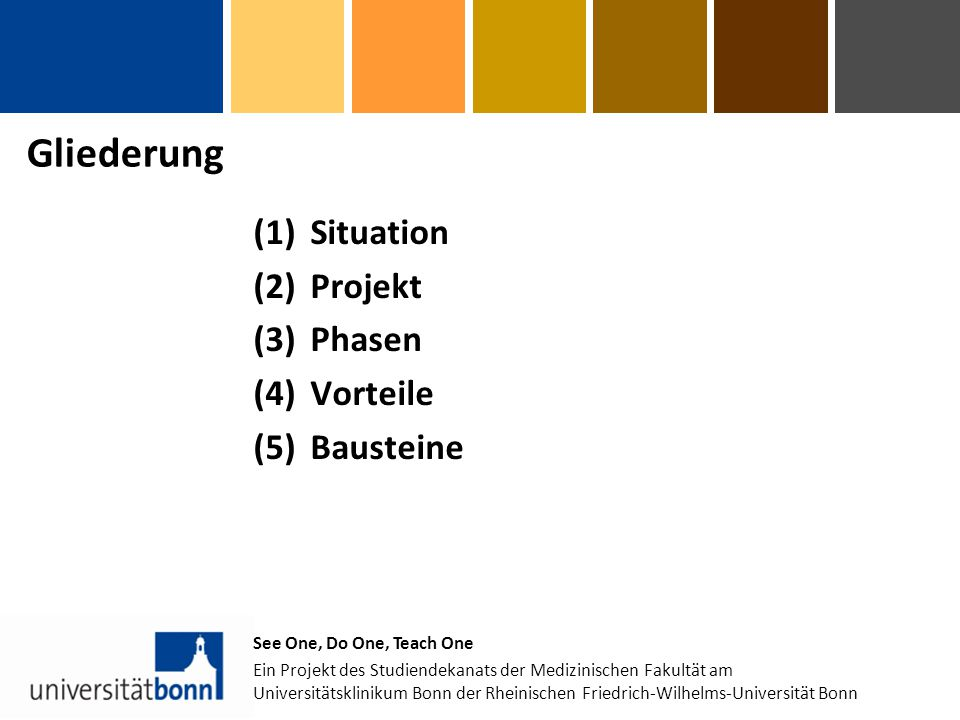 Gliederung (1)Situation (2)Projekt (3)Phasen (4)Vorteile (5)Bausteine See One, Do One, Teach One Ein Projekt des Studiendekanats der Medizinischen Fakultät am Universitätsklinikum Bonn der Rheinischen Friedrich-Wilhelms-Universität Bonn