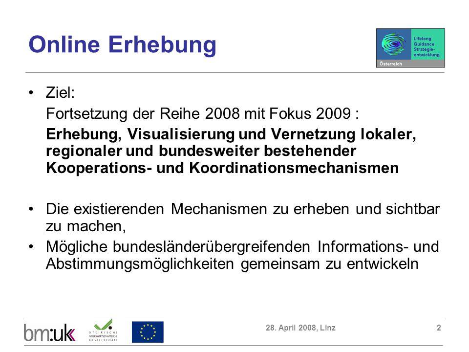 28. April 2008, Linz2 Online Erhebung Ziel: Fortsetzung der Reihe 2008 mit Fokus 2009 : Erhebung, Visualisierung und Vernetzung lokaler, regionaler un