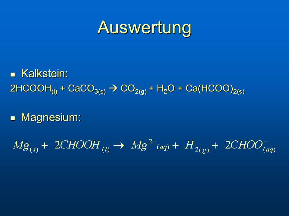 Auswertung Kalkstein: Kalkstein: 2HCOOH (l) + CaCO 3(s)  CO 2(g) + H 2 O + Ca(HCOO) 2(s) Magnesium: Magnesium: