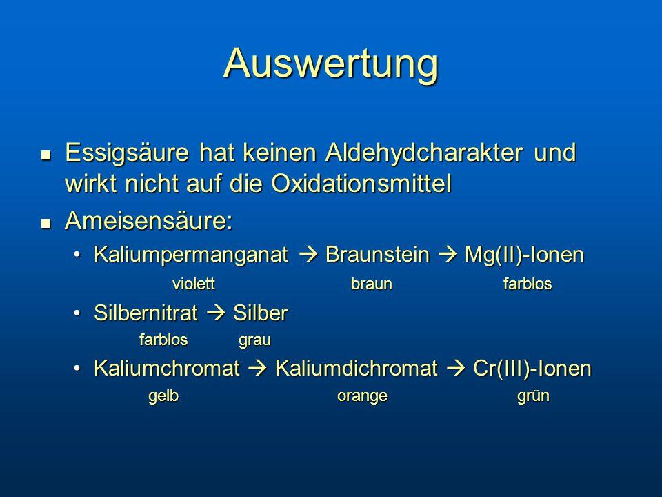 Auswertung Essigsäure hat keinen Aldehydcharakter und wirkt nicht auf die Oxidationsmittel Essigsäure hat keinen Aldehydcharakter und wirkt nicht auf die Oxidationsmittel Ameisensäure: Ameisensäure: Kaliumpermanganat  Braunstein  Mg(II)-IonenKaliumpermanganat  Braunstein  Mg(II)-Ionen violett braunfarblos Silbernitrat  SilberSilbernitrat  Silber farblosgrau Kaliumchromat  Kaliumdichromat  Cr(III)-IonenKaliumchromat  Kaliumdichromat  Cr(III)-Ionen gelb orange grün gelb orange grün