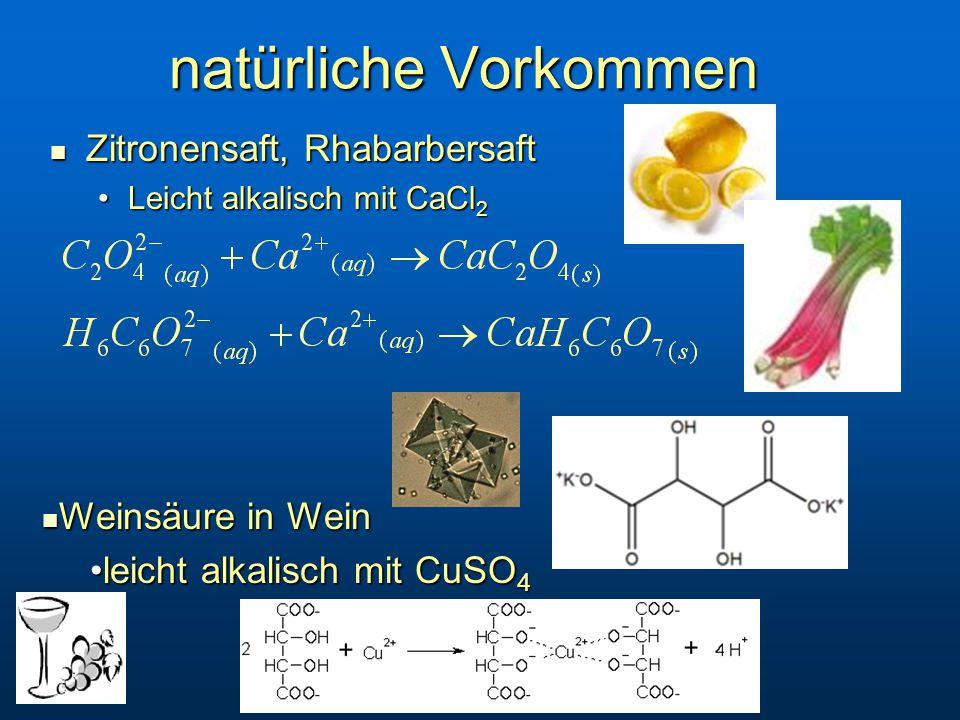 natürliche Vorkommen Zitronensaft, Rhabarbersaft Zitronensaft, Rhabarbersaft Leicht alkalisch mit CaCl 2Leicht alkalisch mit CaCl 2 Weinsäure in Wein Weinsäure in Wein leicht alkalisch mit CuSO 4leicht alkalisch mit CuSO 4