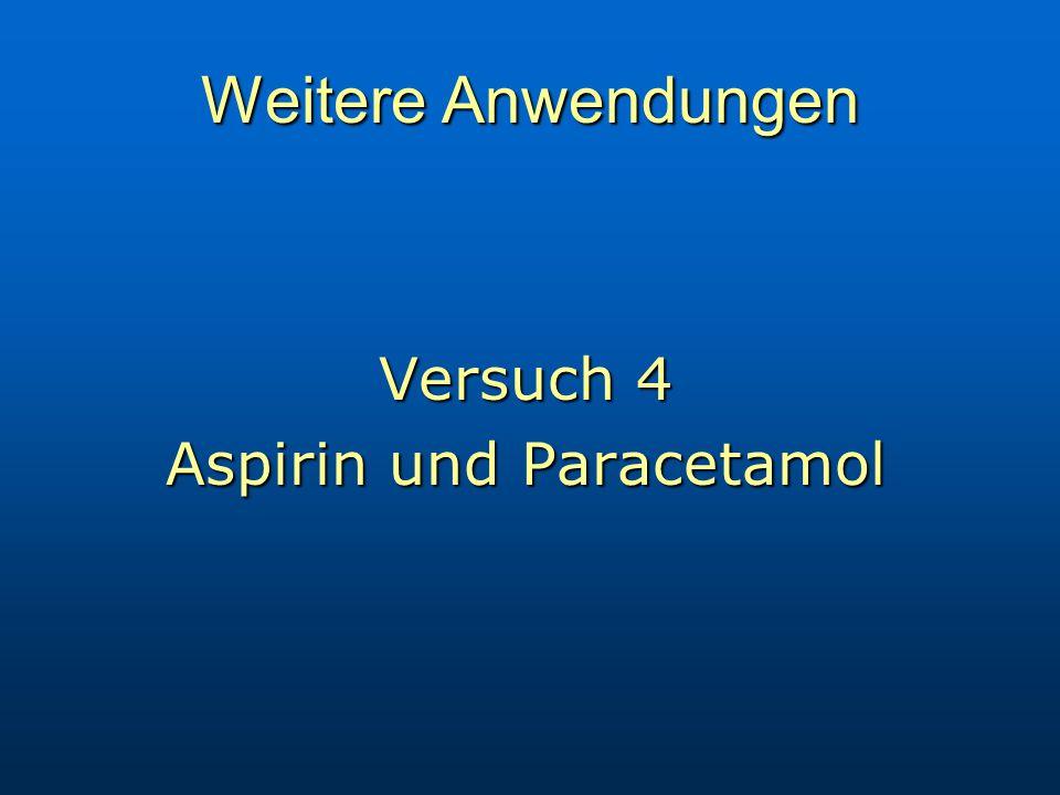 Weitere Anwendungen Versuch 4 Aspirin und Paracetamol