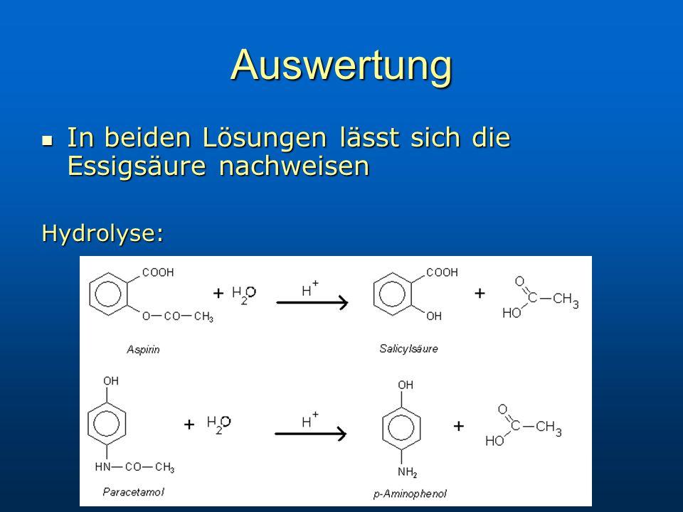 Auswertung In beiden Lösungen lässt sich die Essigsäure nachweisen In beiden Lösungen lässt sich die Essigsäure nachweisenHydrolyse: