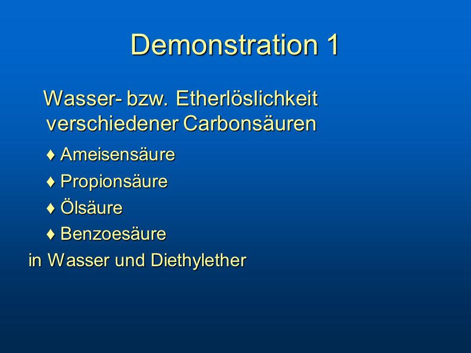 Demonstration 1 Wasser- bzw.Etherlöslichkeit verschiedener Carbonsäuren Wasser- bzw.
