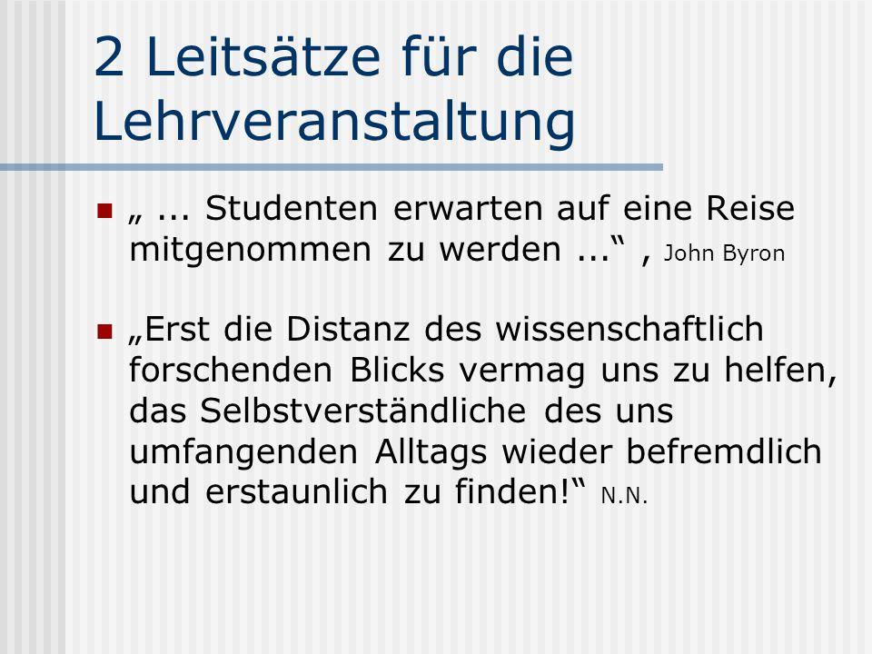 """2 Leitsätze für die Lehrveranstaltung """"..."""