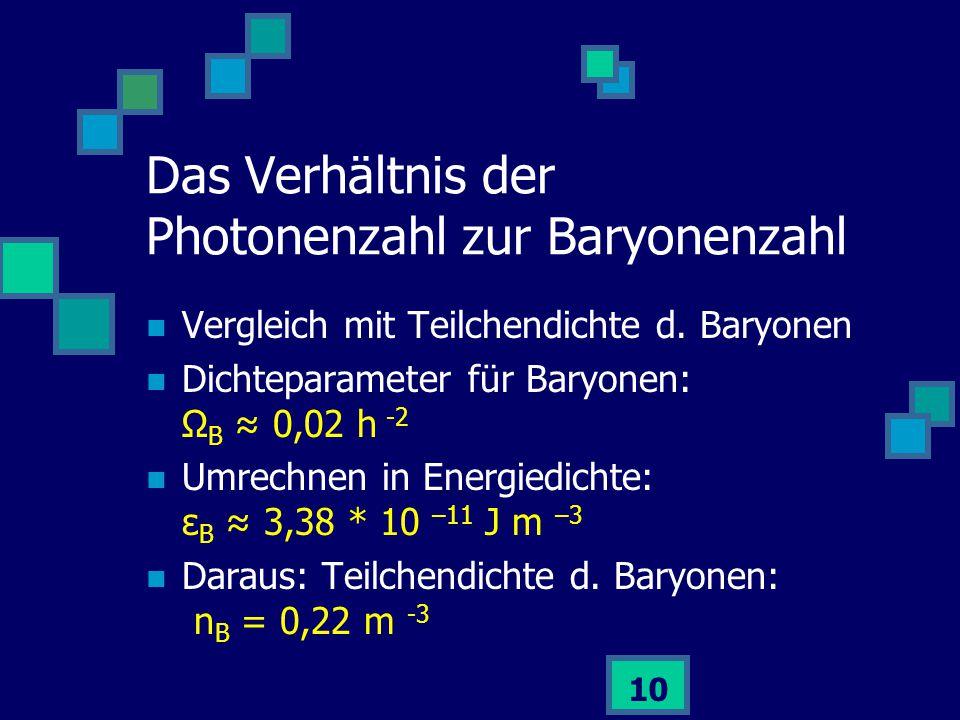 10 Vergleich mit Teilchendichte d. Baryonen Dichteparameter für Baryonen: Ω B ≈ 0,02 h -2 Umrechnen in Energiedichte: ε B ≈ 3,38 * 10 –11 J m –3 Darau