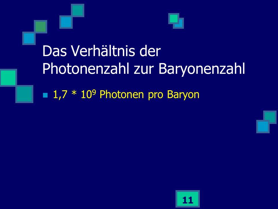 11 1,7 * 10 9 Photonen pro Baryon Das Verhältnis der Photonenzahl zur Baryonenzahl