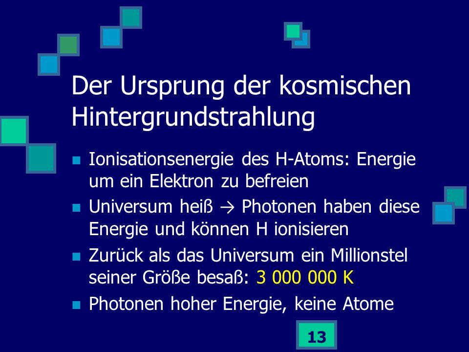 13 Ionisationsenergie des H-Atoms: Energie um ein Elektron zu befreien Universum heiß → Photonen haben diese Energie und können H ionisieren Zurück al