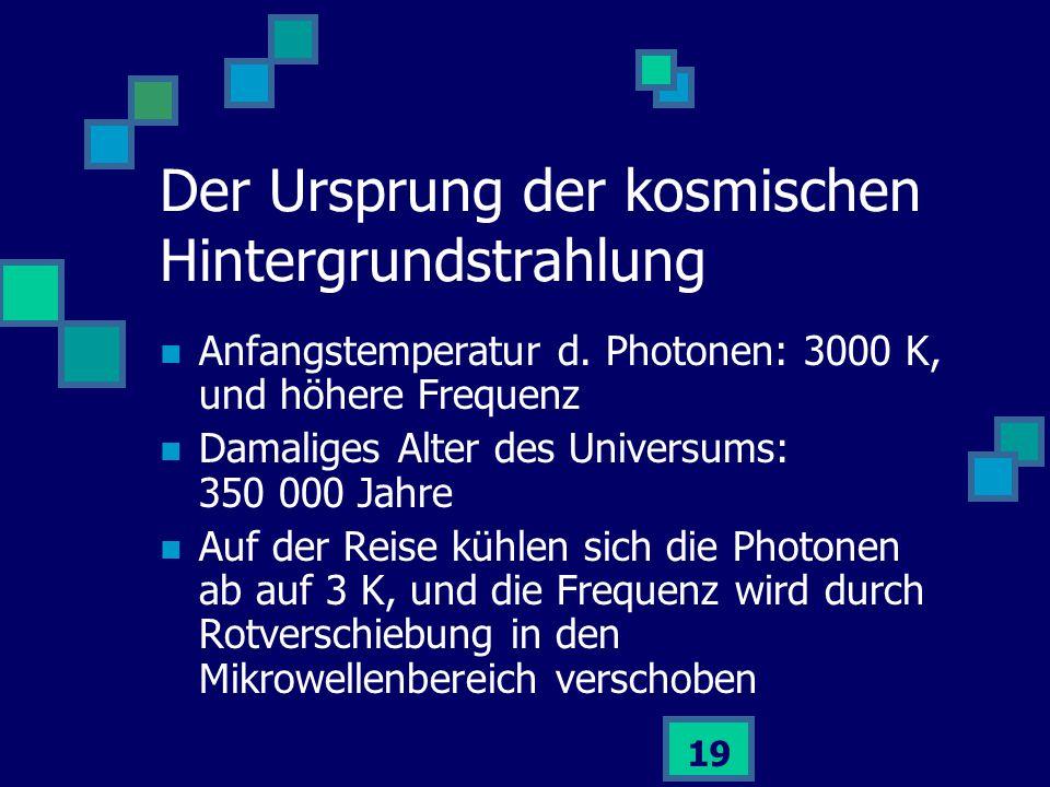 19 Anfangstemperatur d. Photonen: 3000 K, und höhere Frequenz Damaliges Alter des Universums: 350 000 Jahre Auf der Reise kühlen sich die Photonen ab