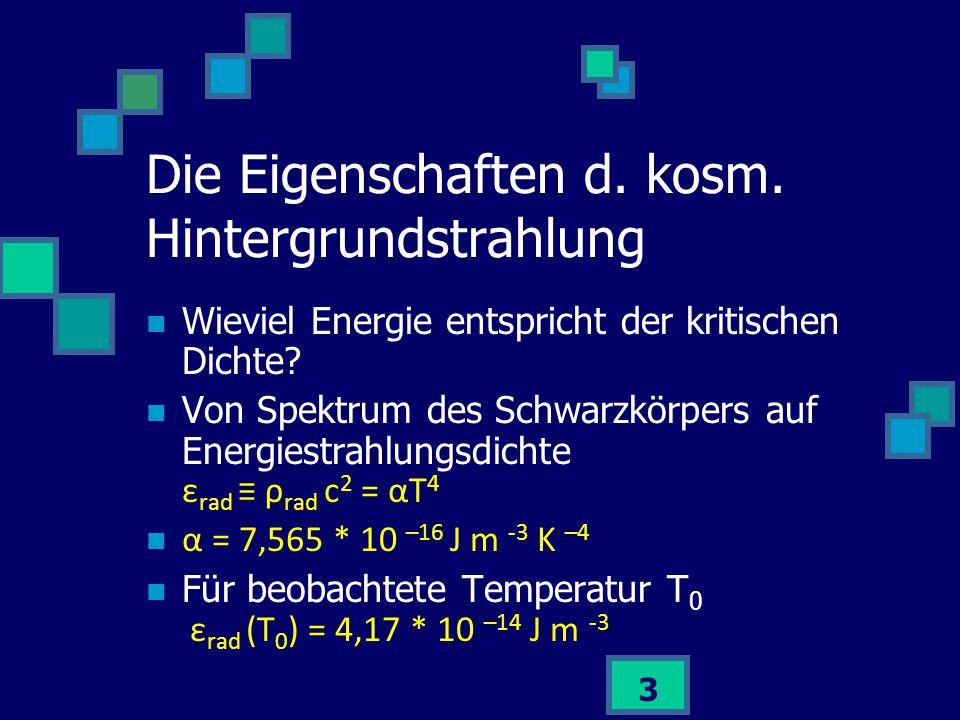 4 Kritische Dichte: Ω rad = 2,47 * 10 -5 h -2 Kosmische Hintergrundstrahlung macht kleinen Bruchteil der kritischen Dichte aus Strahlungsdichte – Expansion ρ rad ~ 1 / α 4 Die Eigenschaften d.