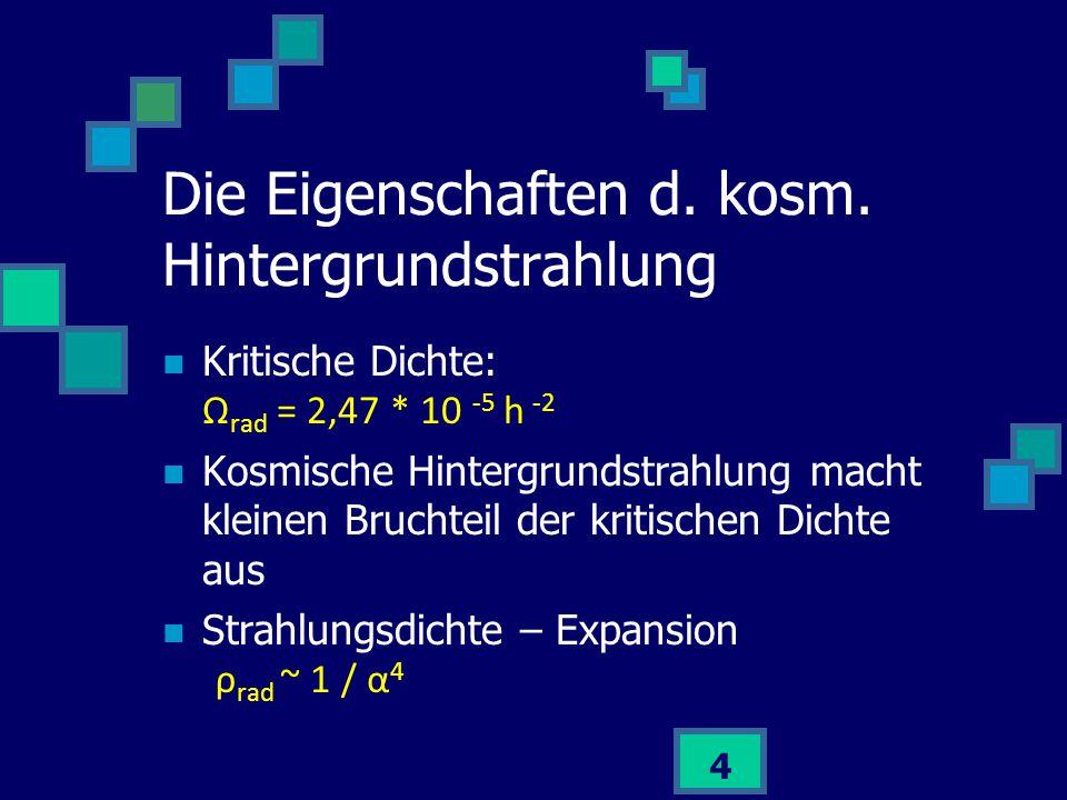 15 Schätzung der T bei der Entkopplung: Photonenenergie = Ionisationsenergie T ≈ 50 000 K Methode ungenau weil 10 9 mal mehr Photonen als Elektronen Genauer: Boltzmann-Unterdrückungsfaktor Der Ursprung der kosmischen Hintergrundstrahlung