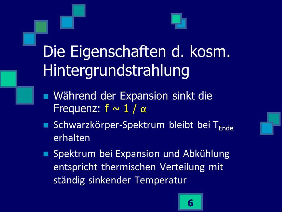 6 Während der Expansion sinkt die Frequenz: f ~ 1 / α Schwarzkörper-Spektrum bleibt bei T Ende erhalten Spektrum bei Expansion und Abkühlung entsprich