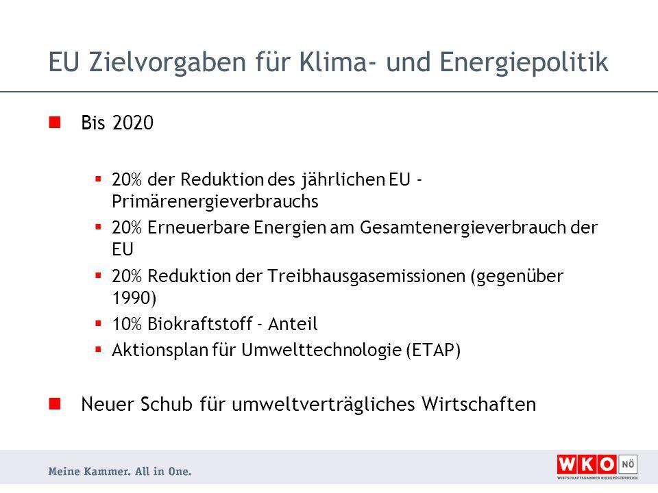 Bis 2020  20% der Reduktion des jährlichen EU - Primärenergieverbrauchs  20% Erneuerbare Energien am Gesamtenergieverbrauch der EU  20% Reduktion der Treibhausgasemissionen (gegenüber 1990)  10% Biokraftstoff - Anteil  Aktionsplan für Umwelttechnologie (ETAP) Neuer Schub für umweltverträgliches Wirtschaften EU Zielvorgaben für Klima- und Energiepolitik