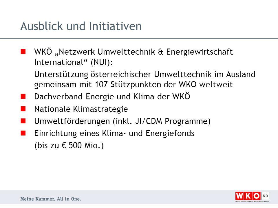 """WKÖ """"Netzwerk Umwelttechnik & Energiewirtschaft International (NUI): Unterstützung österreichischer Umwelttechnik im Ausland gemeinsam mit 107 Stützpunkten der WKO weltweit Dachverband Energie und Klima der WKÖ Nationale Klimastrategie Umweltförderungen (inkl."""