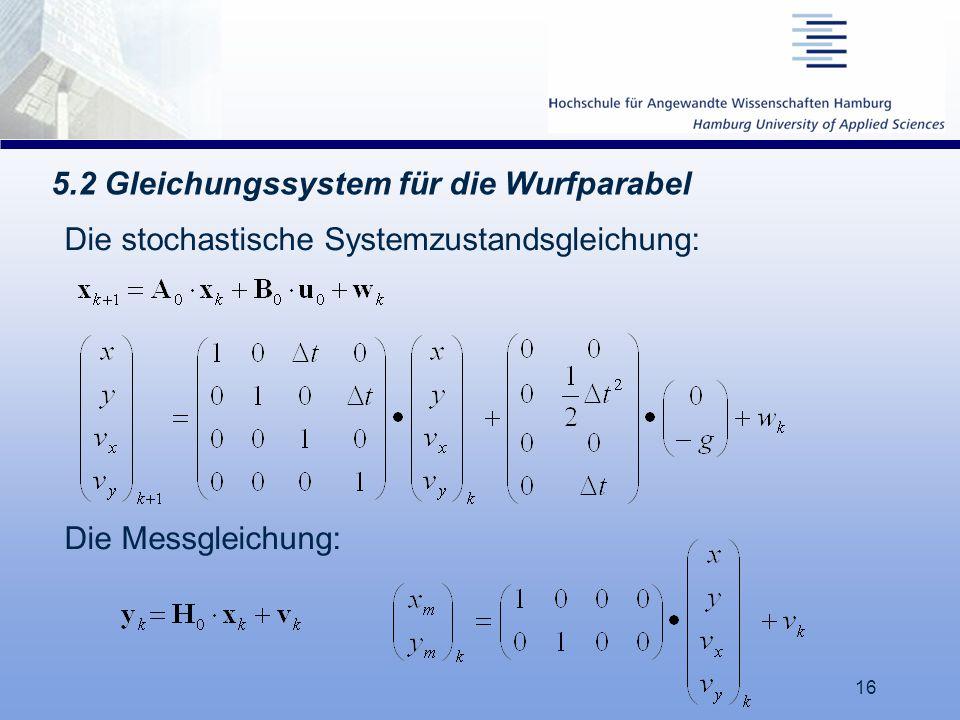 16 5.2 Gleichungssystem für die Wurfparabel Die stochastische Systemzustandsgleichung: Die Messgleichung: