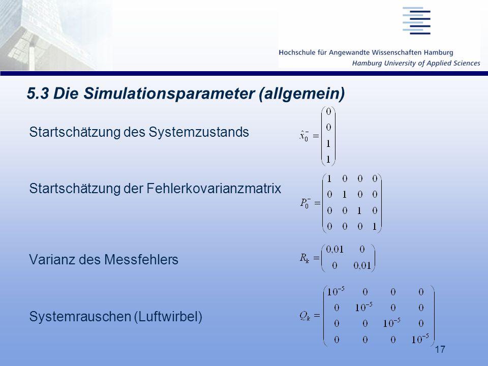 17 5.3 Die Simulationsparameter (allgemein) Startschätzung des Systemzustands Startschätzung der Fehlerkovarianzmatrix Varianz des Messfehlers Systemr