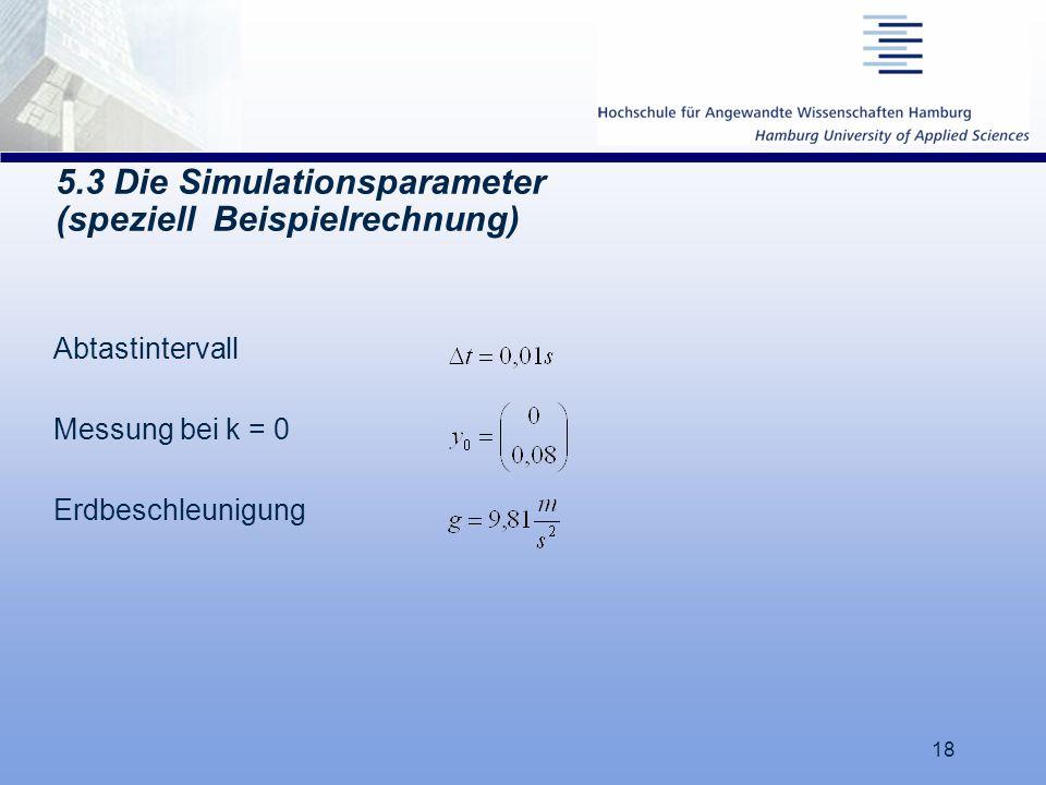 18 5.3 Die Simulationsparameter (speziell Beispielrechnung) Abtastintervall Messung bei k = 0 Erdbeschleunigung