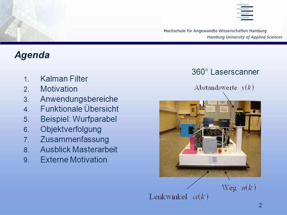 2 Agenda 1. Kalman Filter 2. Motivation 3. Anwendungsbereiche 4. Funktionale Übersicht 5. Beispiel: Wurfparabel 6. Objektverfolgung 7. Zusammenfassung