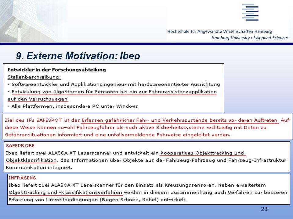 28 9. Externe Motivation: Ibeo