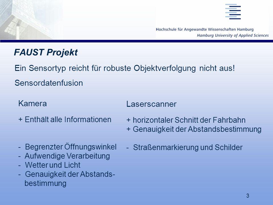 3 FAUST Projekt Kamera + Enthält alle Informationen - Begrenzter Öffnungswinkel - Aufwendige Verarbeitung - Wetter und Licht - Genauigkeit der Abstand