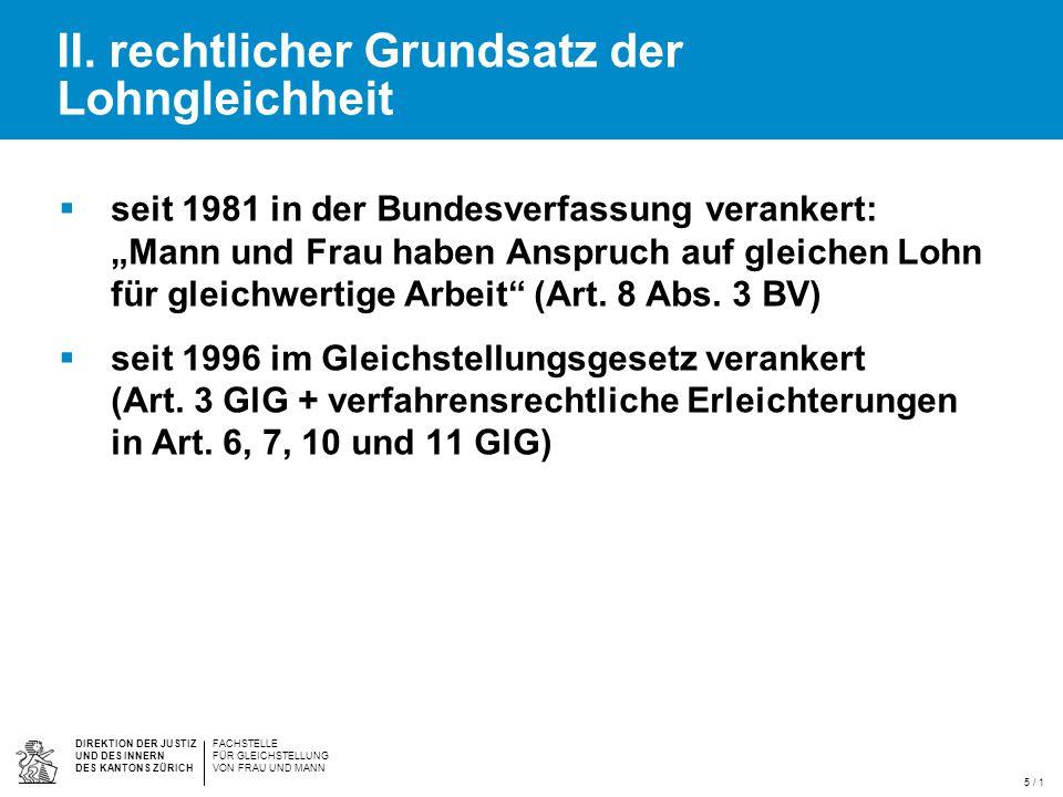 DIREKTION DER JUSTIZ UND DES INNERN DES KANTONS ZÜRICH FACHSTELLE FÜR GLEICHSTELLUNG VON FRAU UND MANN / 1 IV.
