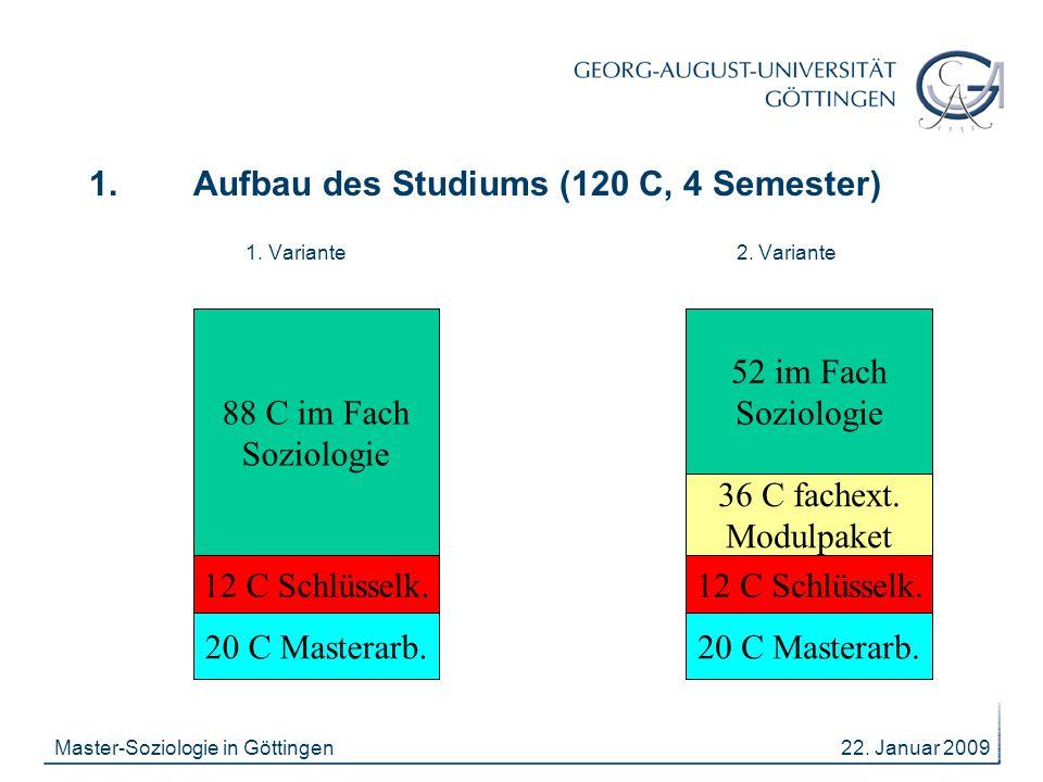 22. Januar 2009Master-Soziologie in Göttingen 1. Aufbau des Studiums (120 C, 4 Semester) 1. Variante 2. Variante 88 C im Fach Soziologie 52 im Fach So