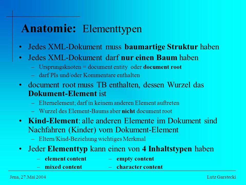 Anatomie: Elementtypen Jedes XML-Dokument muss baumartige Struktur haben Jedes XML-Dokument darf nur einen Baum haben –Ursprungsknoten = document entity oder document root –darf PIs und/oder Kommentare enthalten document root muss TB enthalten, dessen Wurzel das Dokument-Element ist –Elternelement; darf in keinem anderen Element auftreten –Wurzel des Element-Baums aber nicht document root Kind-Element: alle anderen Elemente im Dokument sind Nachfahren (Kinder) vom Dokument-Element –Eltern/Kind-Beziehung wichtiges Merkmal Jeder Elementtyp kann einen von 4 Inhaltstypen haben Lutz GarsteckiJena, 27.Mai 2004 –element content –mixed content –empty content –character content