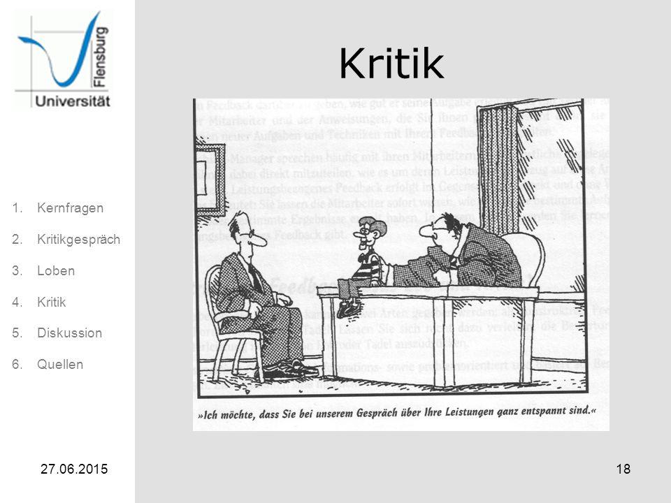 1.Kernfragen 2.Kritikgespräch 3.Loben 4.Kritik 5.Diskussion 6.Quellen 27.06.201518 Kritik