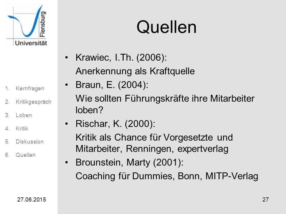 1.Kernfragen 2.Kritikgespräch 3.Loben 4.Kritik 5.Diskussion 6.Quellen 27.06.201527 Quellen Krawiec, I.Th. (2006): Anerkennung als Kraftquelle Braun, E