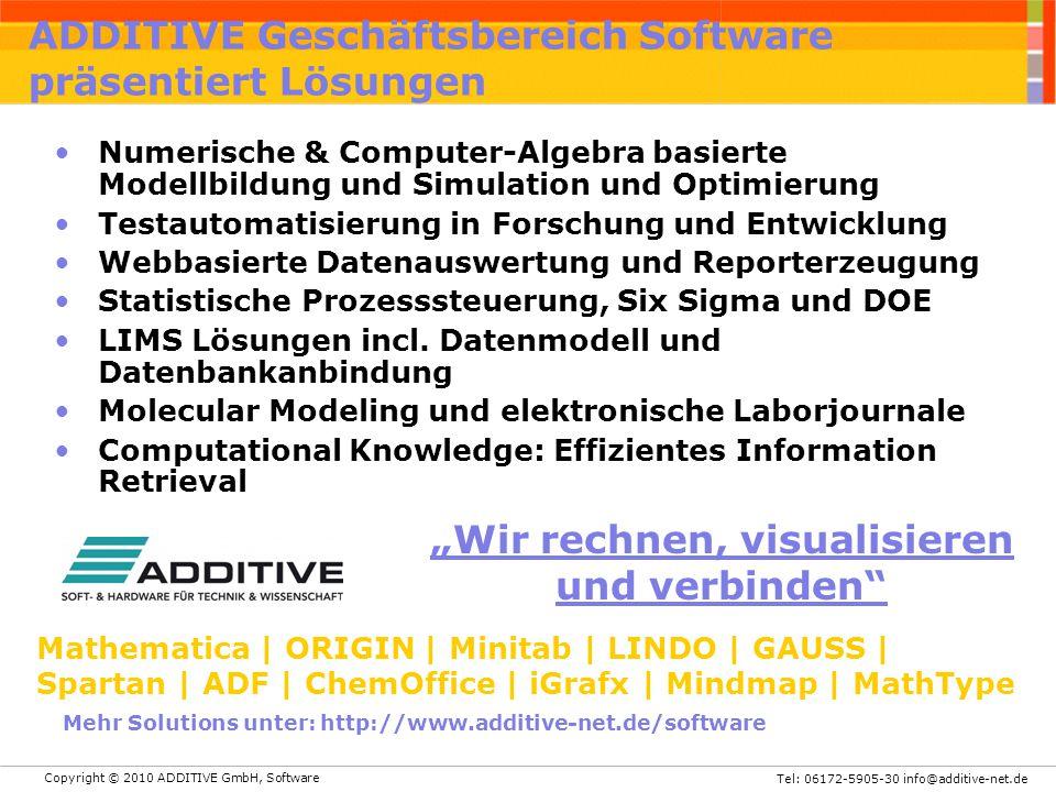 Copyright © 2010 ADDITIVE GmbH, Software Tel: 06172-5905-30 info@additive-net.de ADDITIVE Geschäftsbereich Software präsentiert Lösungen Numerische &