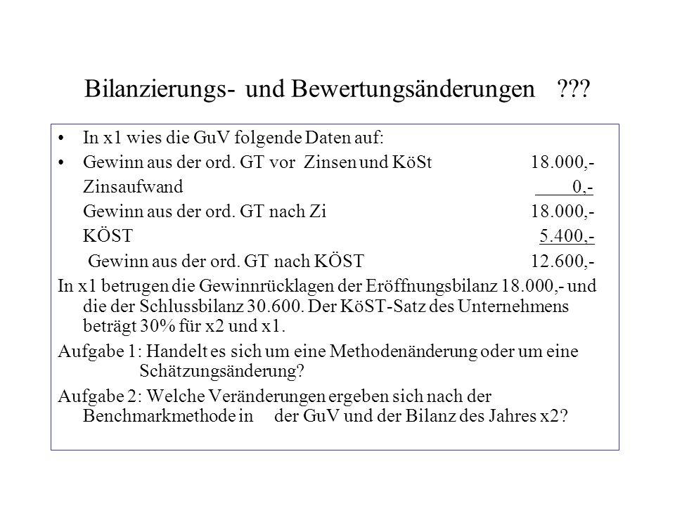 Bilanzierungs- und Bewertungsänderungen??? In x1 wies die GuV folgende Daten auf: Gewinn aus der ord. GT vor Zinsen und KöSt18.000,- Zinsaufwand 0,- G