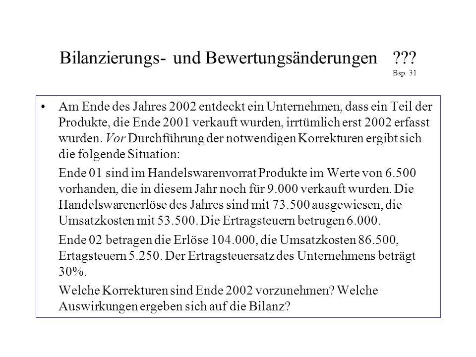 Bilanzierungs- und Bewertungsänderungen??? Bsp. 31 Am Ende des Jahres 2002 entdeckt ein Unternehmen, dass ein Teil der Produkte, die Ende 2001 verkauf