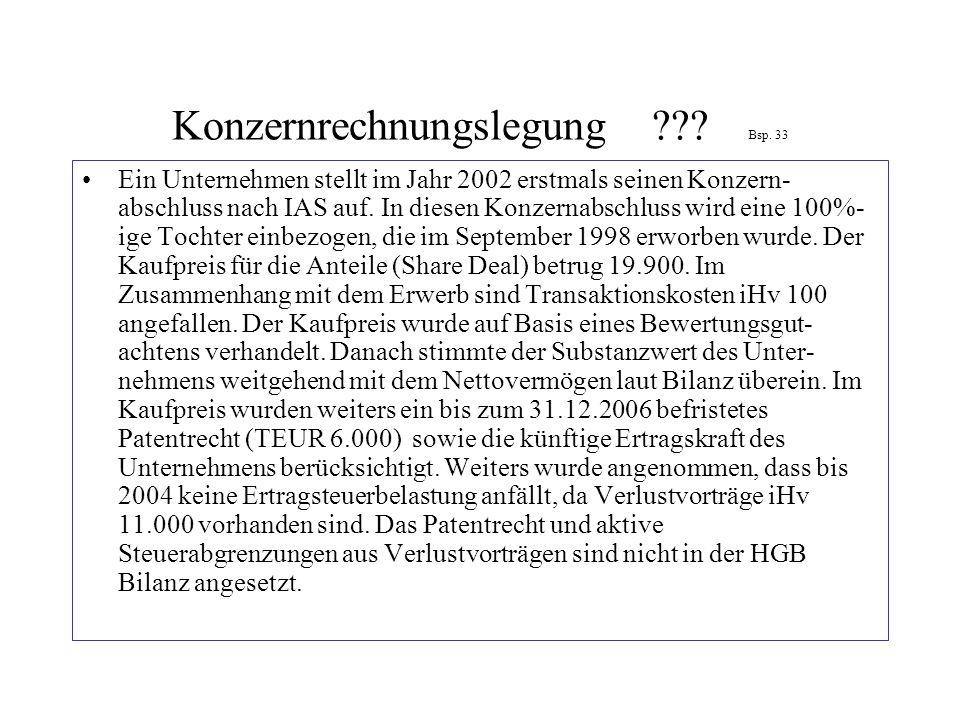 Konzernrechnungslegung??? Bsp. 33 Ein Unternehmen stellt im Jahr 2002 erstmals seinen Konzern- abschluss nach IAS auf. In diesen Konzernabschluss wird