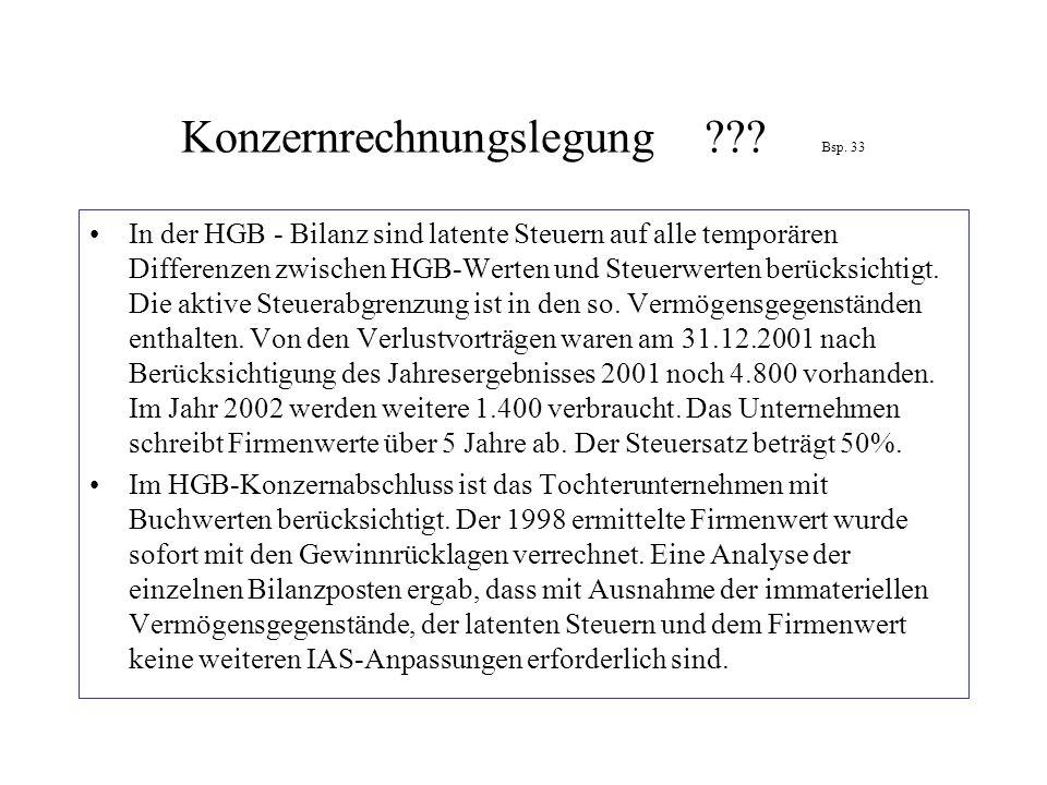 Konzernrechnungslegung ??? Bsp. 33 In der HGB - Bilanz sind latente Steuern auf alle temporären Differenzen zwischen HGB-Werten und Steuerwerten berüc