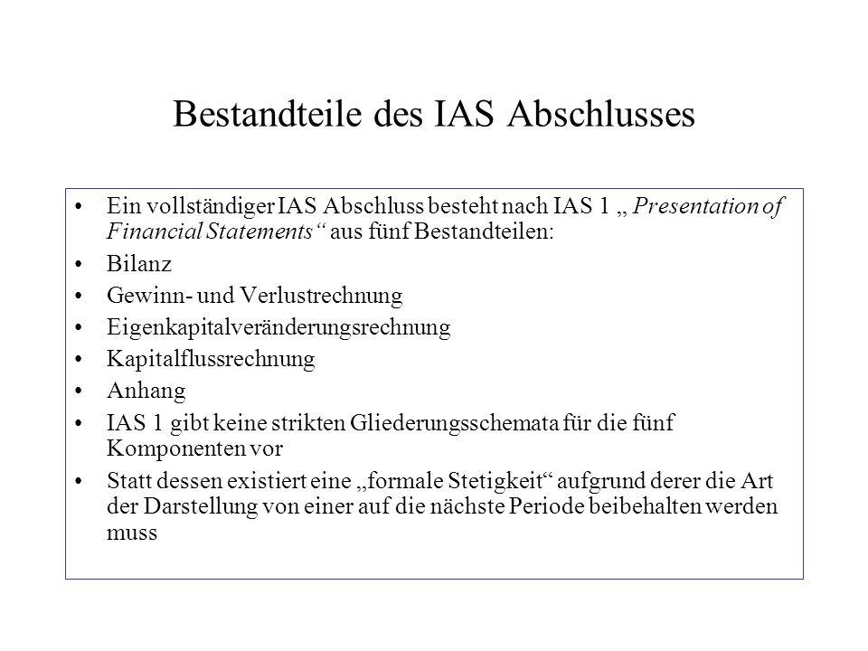 """Bestandteile des IAS Abschlusses Ein vollständiger IAS Abschluss besteht nach IAS 1 """" Presentation of Financial Statements"""" aus fünf Bestandteilen: Bi"""