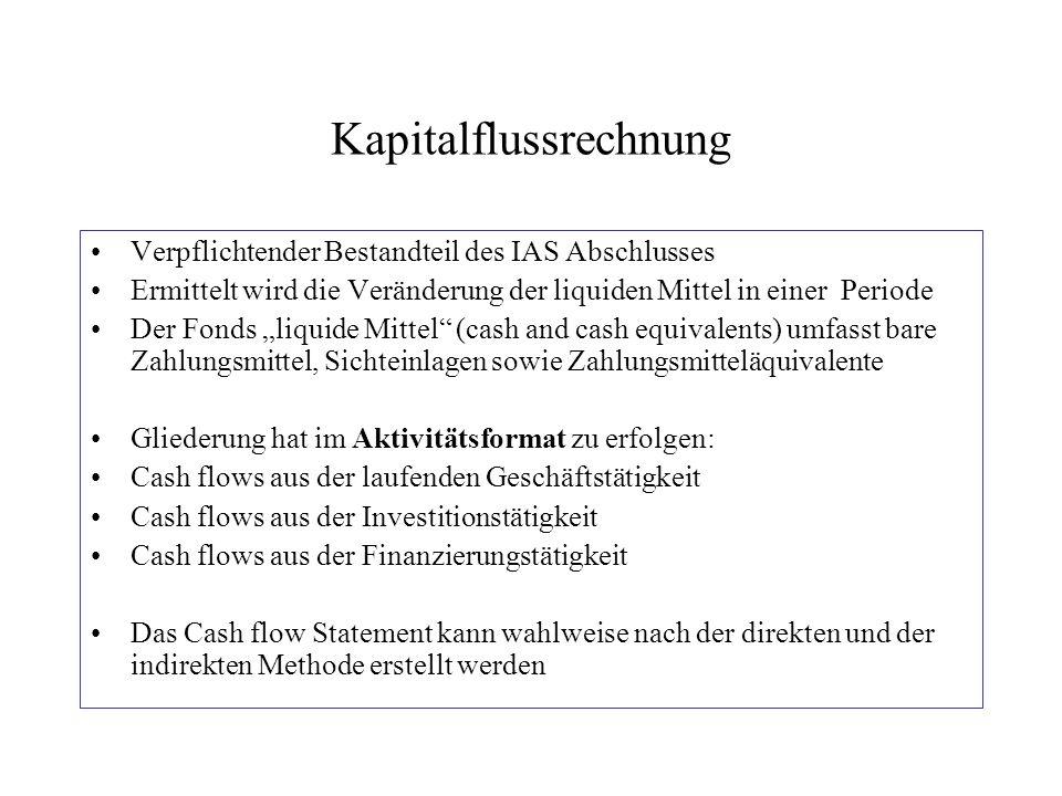 """Kapitalflussrechnung Verpflichtender Bestandteil des IAS Abschlusses Ermittelt wird die Veränderung der liquiden Mittel in einer Periode Der Fonds """"li"""