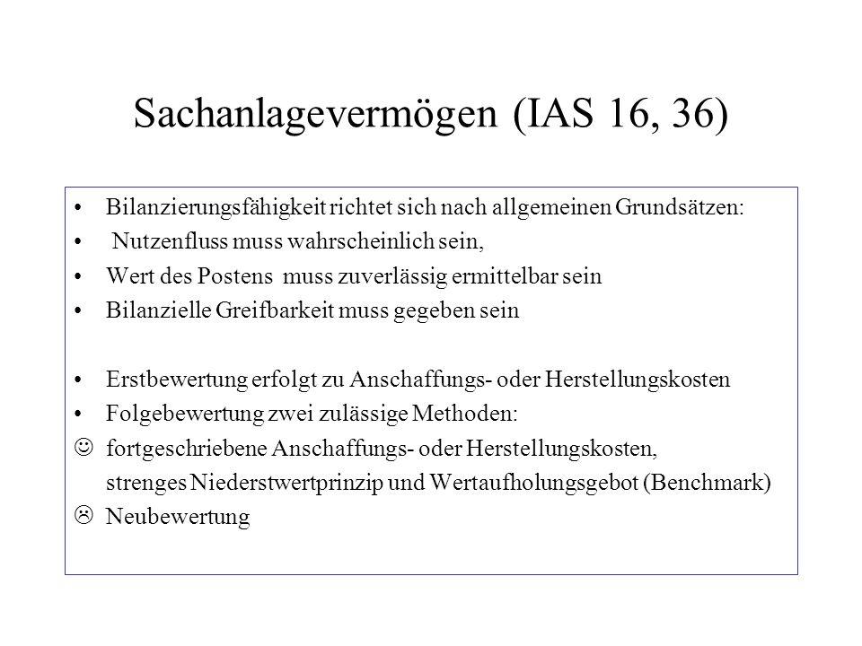 Sachanlagevermögen (IAS 16, 36) Bilanzierungsfähigkeit richtet sich nach allgemeinen Grundsätzen: Nutzenfluss muss wahrscheinlich sein, Wert des Poste
