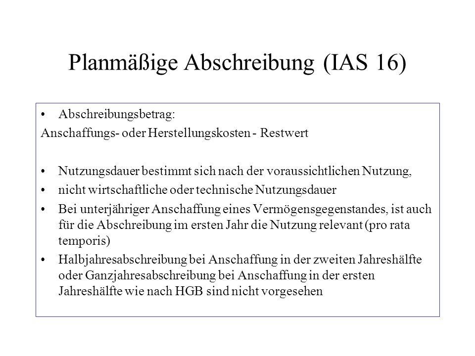 Planmäßige Abschreibung (IAS 16) Abschreibungsbetrag: Anschaffungs- oder Herstellungskosten - Restwert Nutzungsdauer bestimmt sich nach der voraussich