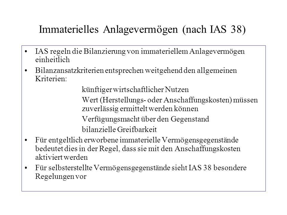 Immaterielles Anlagevermögen (nach IAS 38) IAS regeln die Bilanzierung von immateriellem Anlagevermögen einheitlich Bilanzansatzkriterien entsprechen