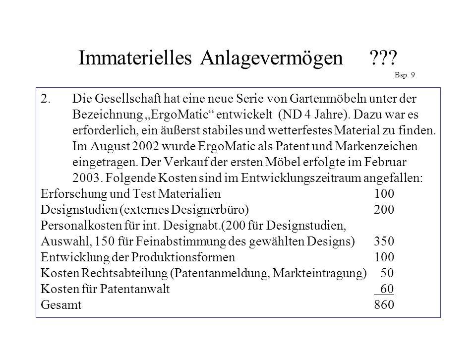 """Immaterielles Anlagevermögen ??? Bsp. 9 2.Die Gesellschaft hat eine neue Serie von Gartenmöbeln unter der Bezeichnung """"ErgoMatic"""" entwickelt (ND 4 Jah"""