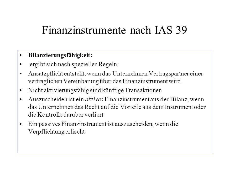 Finanzinstrumente nach IAS 39 Bilanzierungsfähigkeit: ergibt sich nach speziellen Regeln: Ansatzpflicht entsteht, wenn das Unternehmen Vertragspartner
