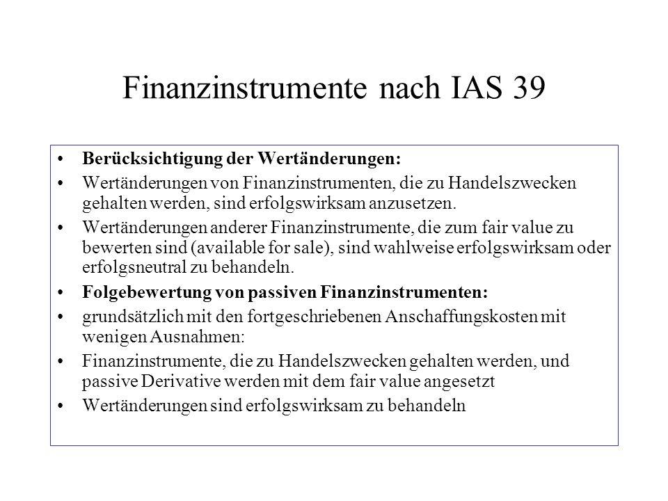 Finanzinstrumente nach IAS 39 Berücksichtigung der Wertänderungen: Wertänderungen von Finanzinstrumenten, die zu Handelszwecken gehalten werden, sind