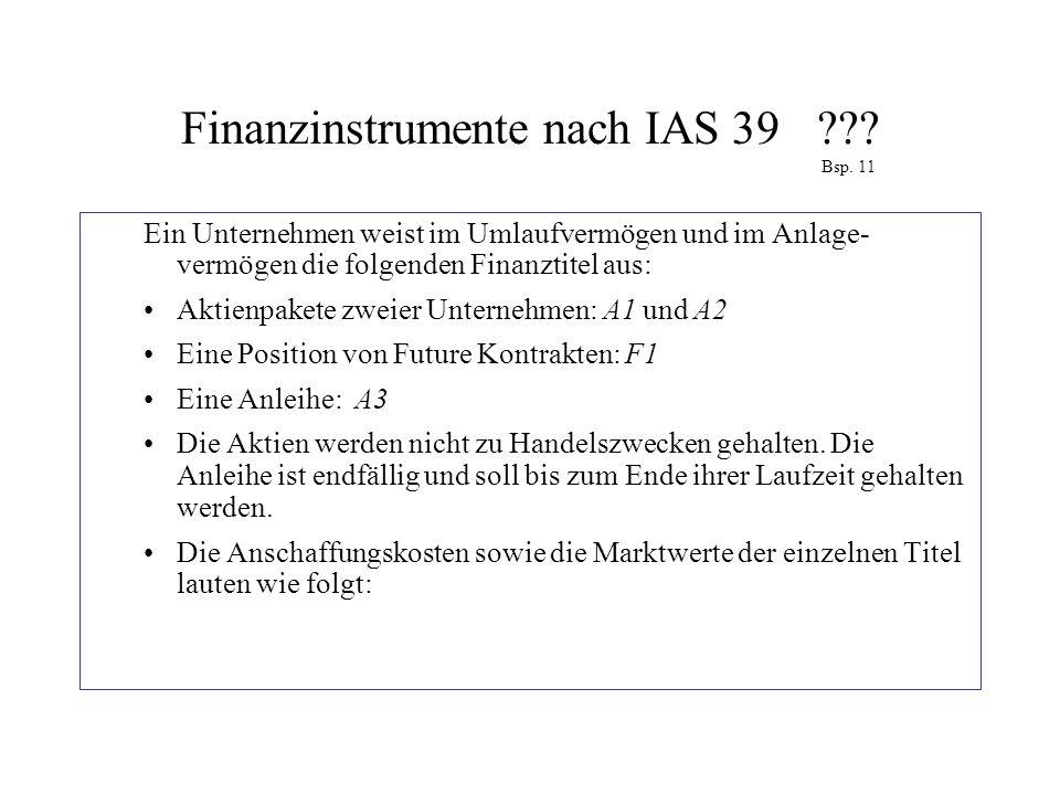 Finanzinstrumente nach IAS 39??? Bsp. 11 Ein Unternehmen weist im Umlaufvermögen und im Anlage- vermögen die folgenden Finanztitel aus: Aktienpakete z